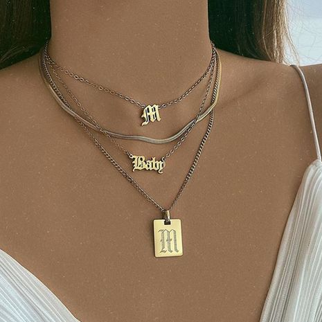 collier de lettre carrée simple rétro de mode NHNZ283320's discount tags