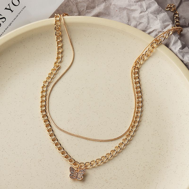 retro  geometric metal items popular all-match butterfly necklace NHNZ283324