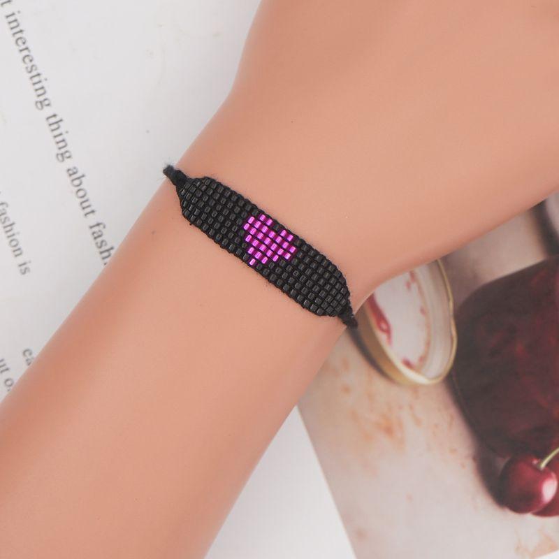 simple bohemian purple heart beaded bracelet NHGW283329
