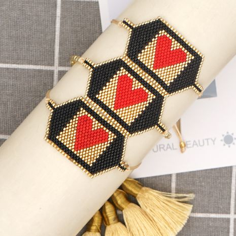 retro punk bohemian heart beaded bracelet NHGW283332's discount tags