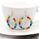 fashion Bohemian colorful rice bead large hoop earrings NHGW283336