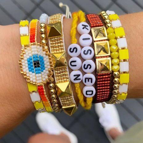 Bohemian beaded blue eyes multi-layered rivet letter bracelet NHGW283338's discount tags