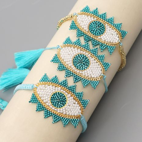 kreatives handgewebtes Perlenarmband mit blauen Augen NHGW283340's discount tags