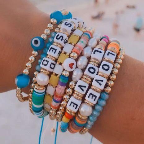 Bracelet à lettres en céramique souple multicouche en perles de bohème NHGW283343's discount tags