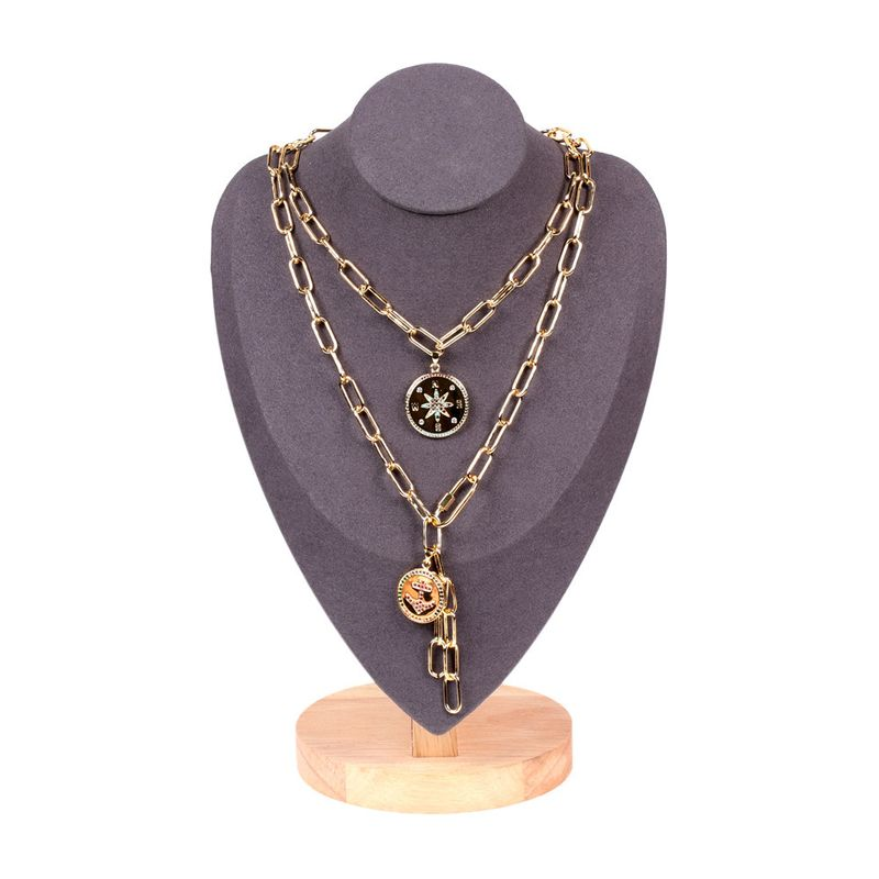 new keychain thick lock chain stacking necklace  NHPY283352