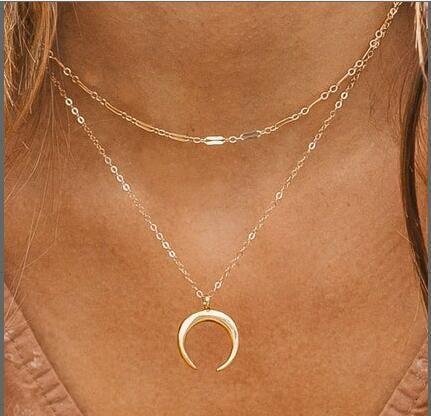 nouveau collier de lune double couche simple créatif multicouche NHPJ283355's discount tags