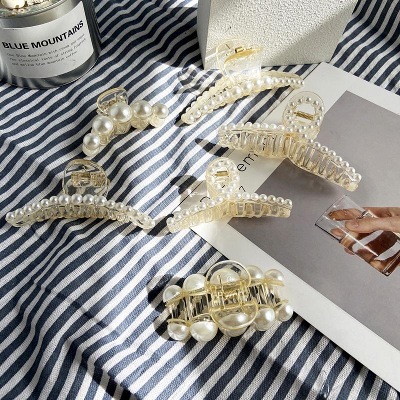 retro pearl hair grabbing clip  NHPJ283358