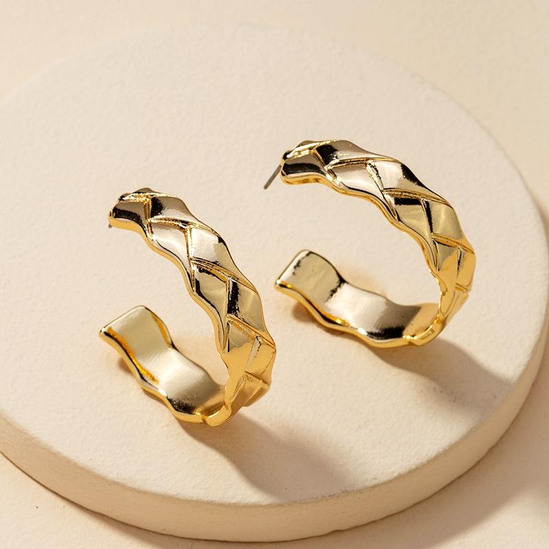 metal C-shaped earrings  NHGU283372