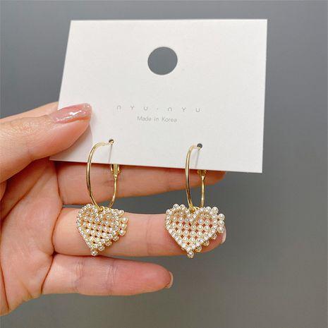 Boucles d'oreilles coeur rétro perle exquise aiguille en argent S925 NHXI283393's discount tags