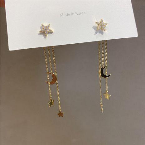 s925 silver needle  star moon long tassel earrings  NHXI283397's discount tags