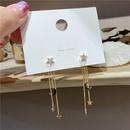 s925 silver needle  star moon long tassel earrings  NHXI283397