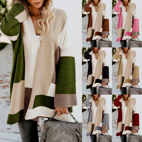 fashion loose  versatile geometric color-blocking sweater  NHUO284551's discount tags