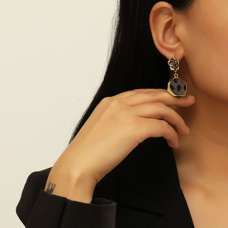 Fashion leopard rose diamond earrings NHKQ283459