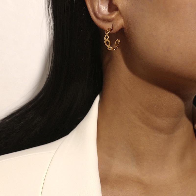 simple  creative  half C-shaped earrings NHKQ283464