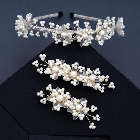 Diadema de perlas con flores de velo blanco de novia NHHS283481's discount tags