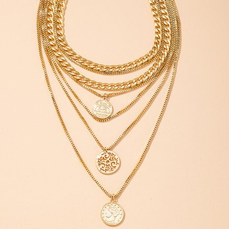 hip-hop metal texture gold coin hollow embossed multilayer necklace  NHAI283484's discount tags