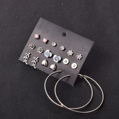 ensemble de 9 paires de boucles d'oreilles petites fleurs coeur feuille NHSD283498's discount tags