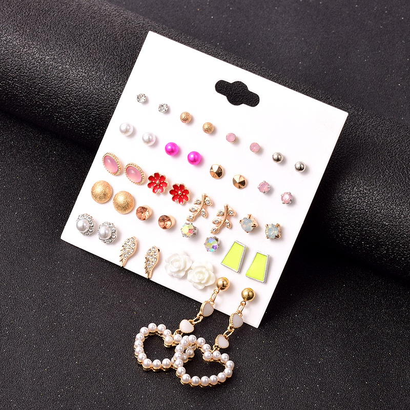 fashion retro alloy heart-shaped earrings set NHSD283499