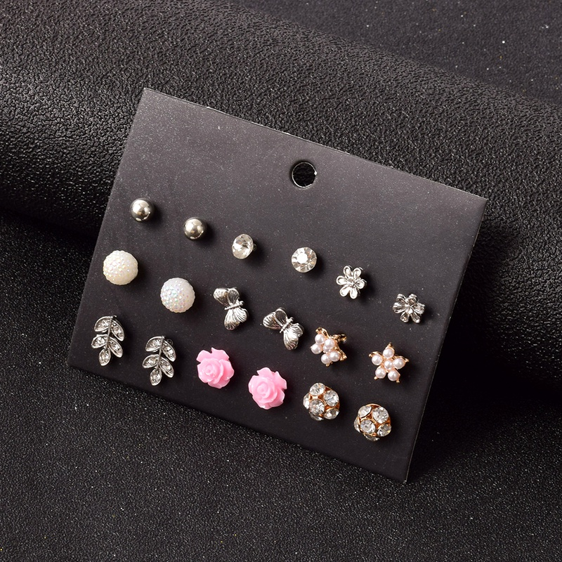 fashion flower earrings 9 pairs set  NHSD283502