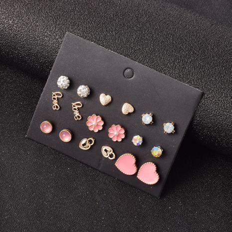 alliage rose peach coeur diamant 9 paires de boucles d'oreilles NHSD283503's discount tags
