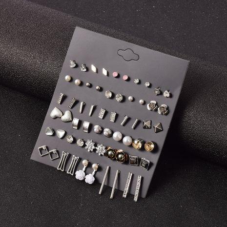 boucles d'oreilles rétro coeur fleurs strass 30 paires NHSD283508's discount tags