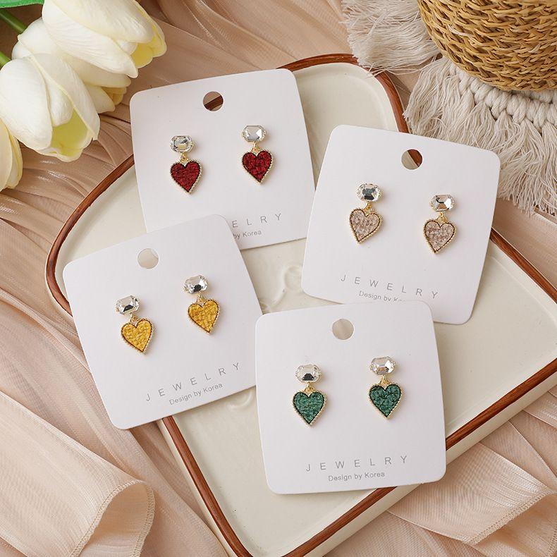 Rhinestone Short Heart-shaped Earrings NHMS283526