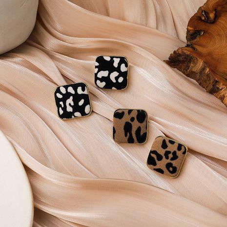 Pendientes cuadrados con estampado de leopardo NHMS283543's discount tags