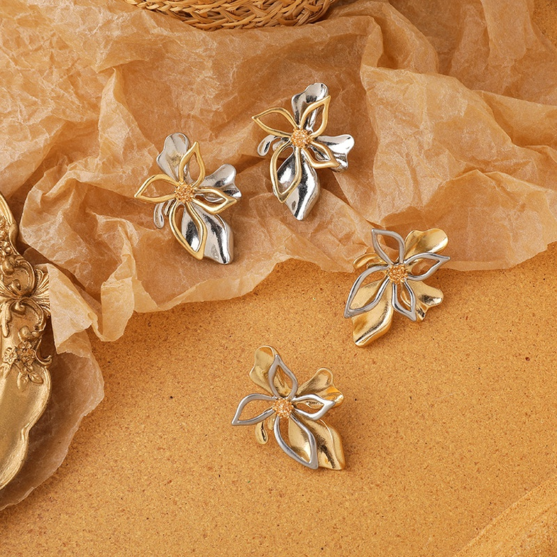 Retro double-layer metal flower earrings  NHMS283545