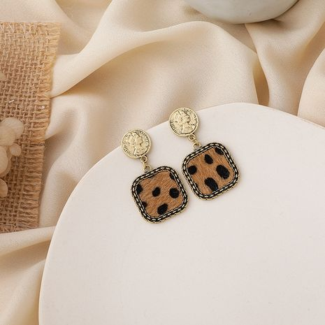 Retro disc leopard square earrings  NHMS283562's discount tags