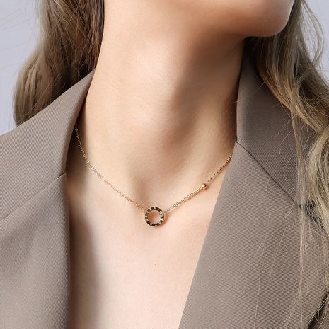 simple Roman numeral circle pendant double chain necklace  NHOK283572's discount tags