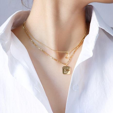 double layered wear English letter O pendant necklace  NHOK283582's discount tags