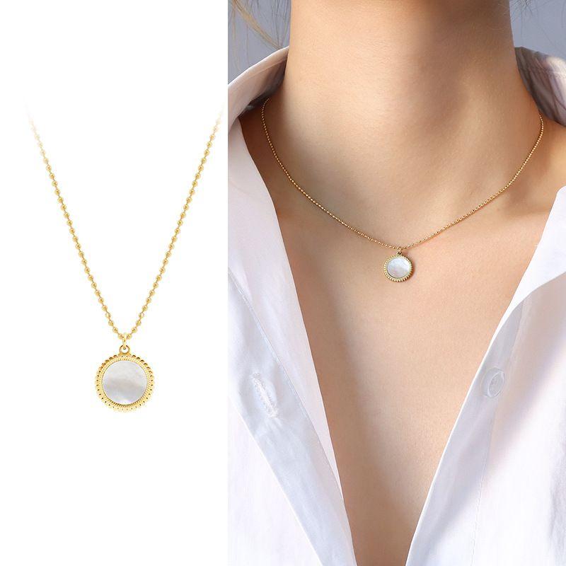 mirror white sea shell pendant necklace NHOK283584