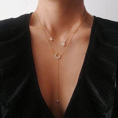 Collier pour femme avec pendentif étoile lune et diamant multicouche NHAJ283588's discount tags