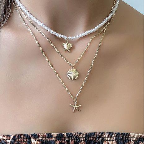 collier multicouche avec pendentif étoile de mer tortue coquille NHAJ283589's discount tags
