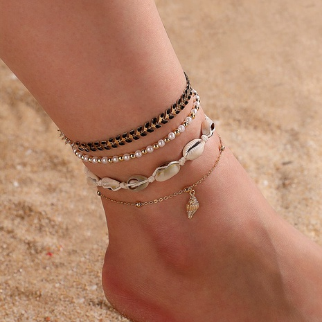 Bohemian shell metal mixed four-layer anklet NHGY284813's discount tags