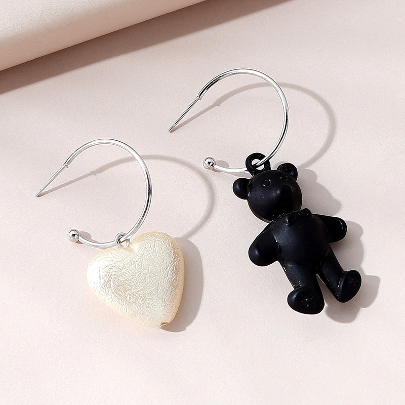 creative  wild small fresh asymmetrical pearl teddy bear earrings NHPS283603
