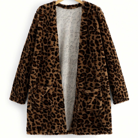 new casual solid color medium-thick leopard print long-sleeved medium-length cardigan NHUO284542's discount tags