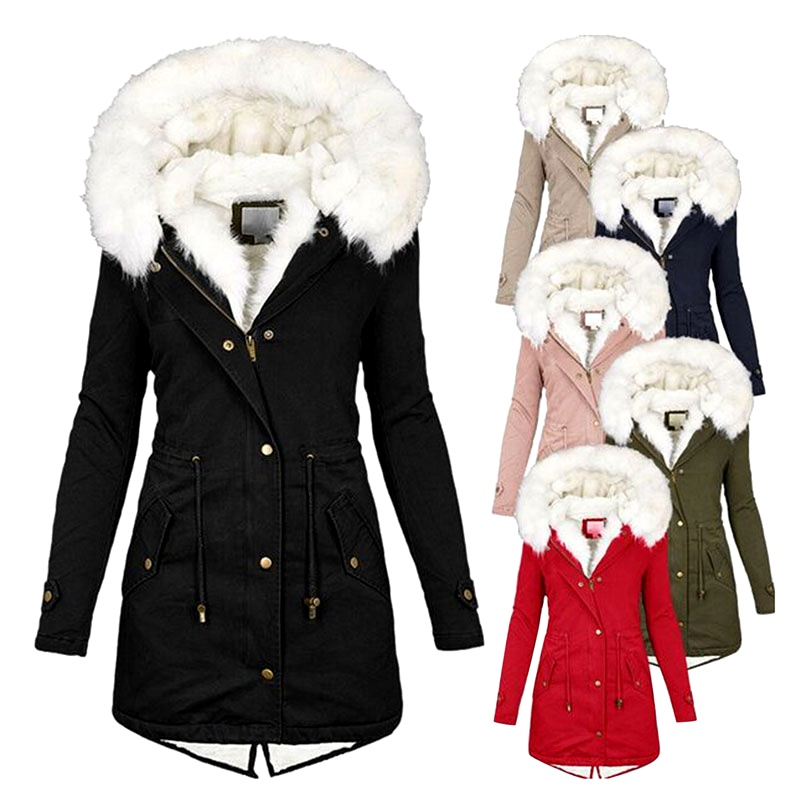 winter mid-length windbreaker white fur collar hooded warm  velvet coat NHJC284536