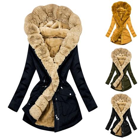 women's hot style warm fur collar hooded coat windbreaker coat NHJC284534's discount tags