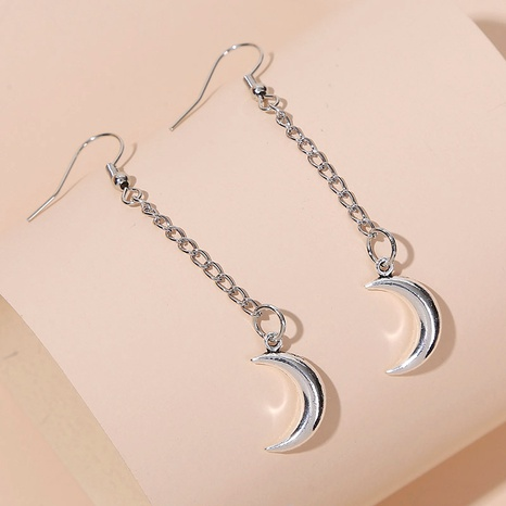 simple long silver chain moon earrings NHLA283633's discount tags
