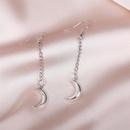 simple long silver chain moon earrings NHLA283633
