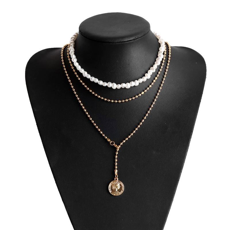 irregular pearl alloy multilayer necklace NHJQ283634
