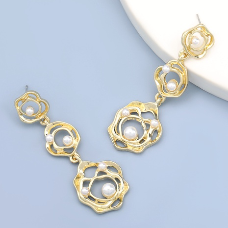 irregular round imitation pearl alloy earrings NHJE283648's discount tags