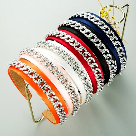 Diadema de ala ancha de moda con diamantes de cadena de metal NHLN283654's discount tags