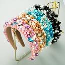 irregular pearl flower glass diamond headband NHLN283658