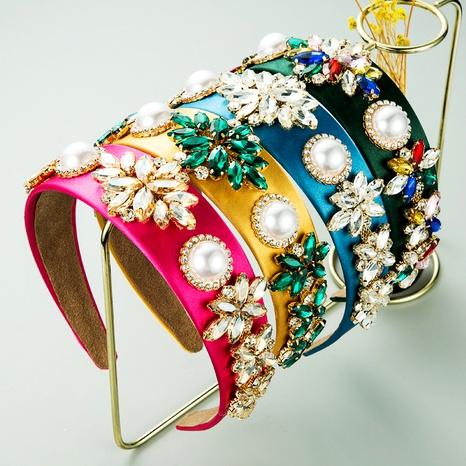 diadema de perlas de flores de ala ancha de tela barroca de color sólido NHLN283659's discount tags