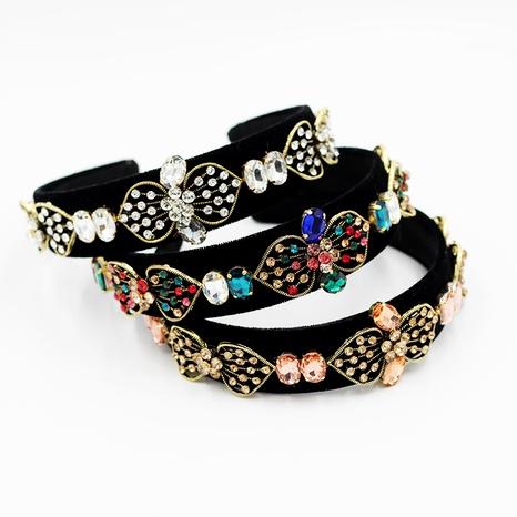 Diadema de franela de estilo barroco con incrustaciones de diamantes NHWJ283670's discount tags