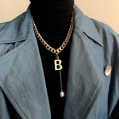 metal letter B necklace NHYQ283676's discount tags