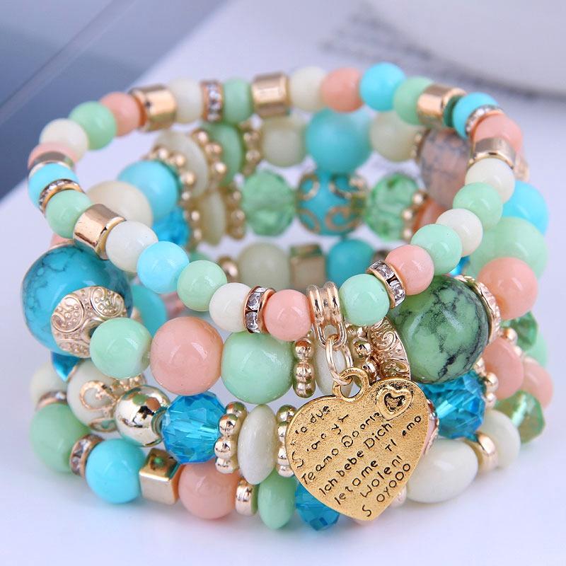 Bohemian metal peach heart multilayer bracelet NHSC284792