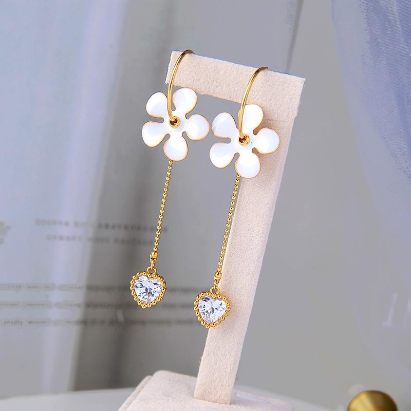 s925 silver needle long tassel flower earrings  NHQD283718